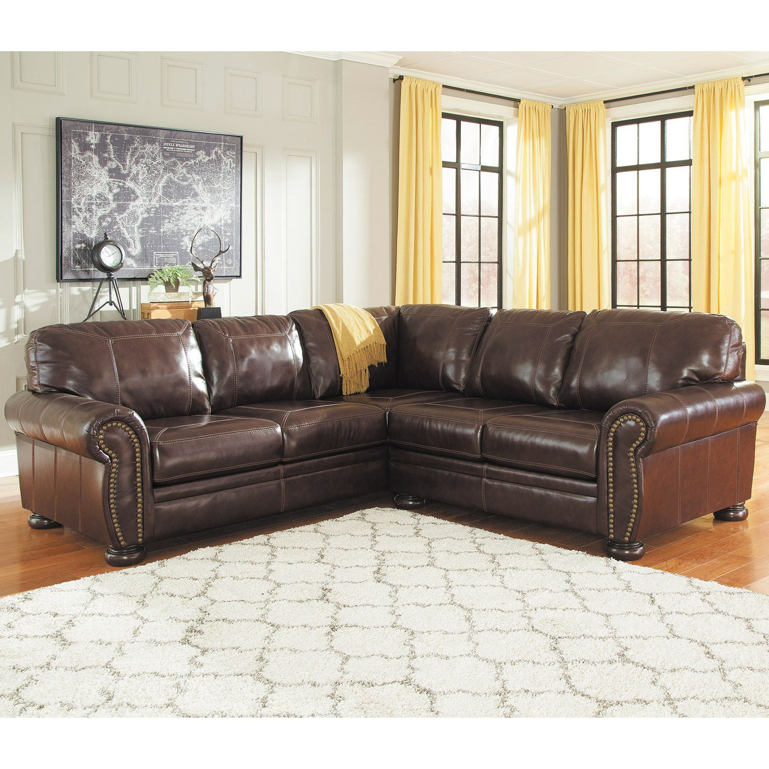Ashley Leather Sofa: 2PC LAF Sofa Leather Sectional 0H0-504LS-2PC