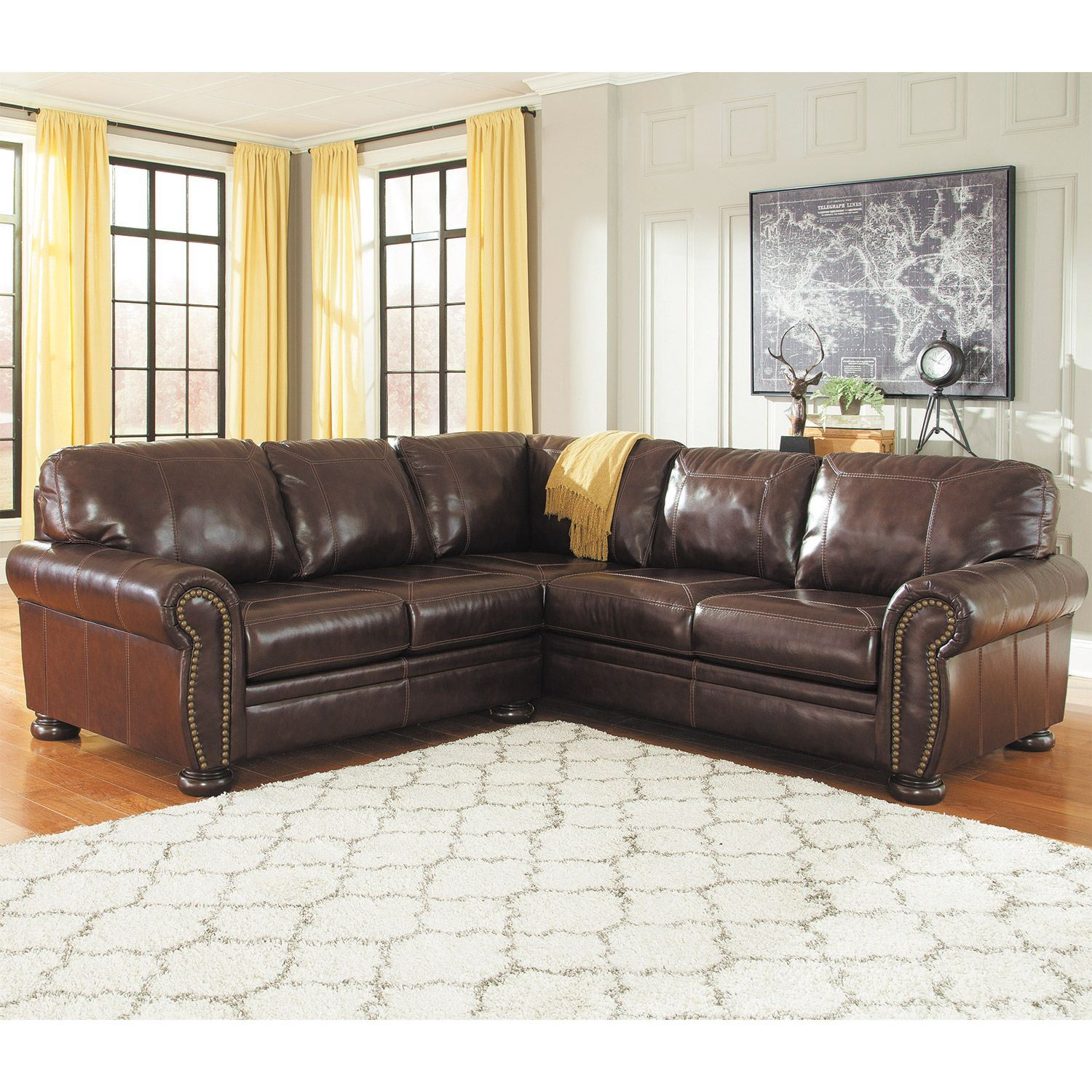 Ashley Leather Sofa: 2PC RAF Sofa Leather Sectional 0H0-504RS-2PC