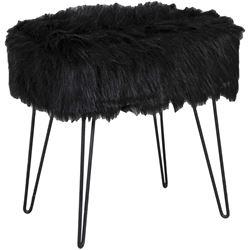 Picture of Lola Black Faux Fur Ottoman