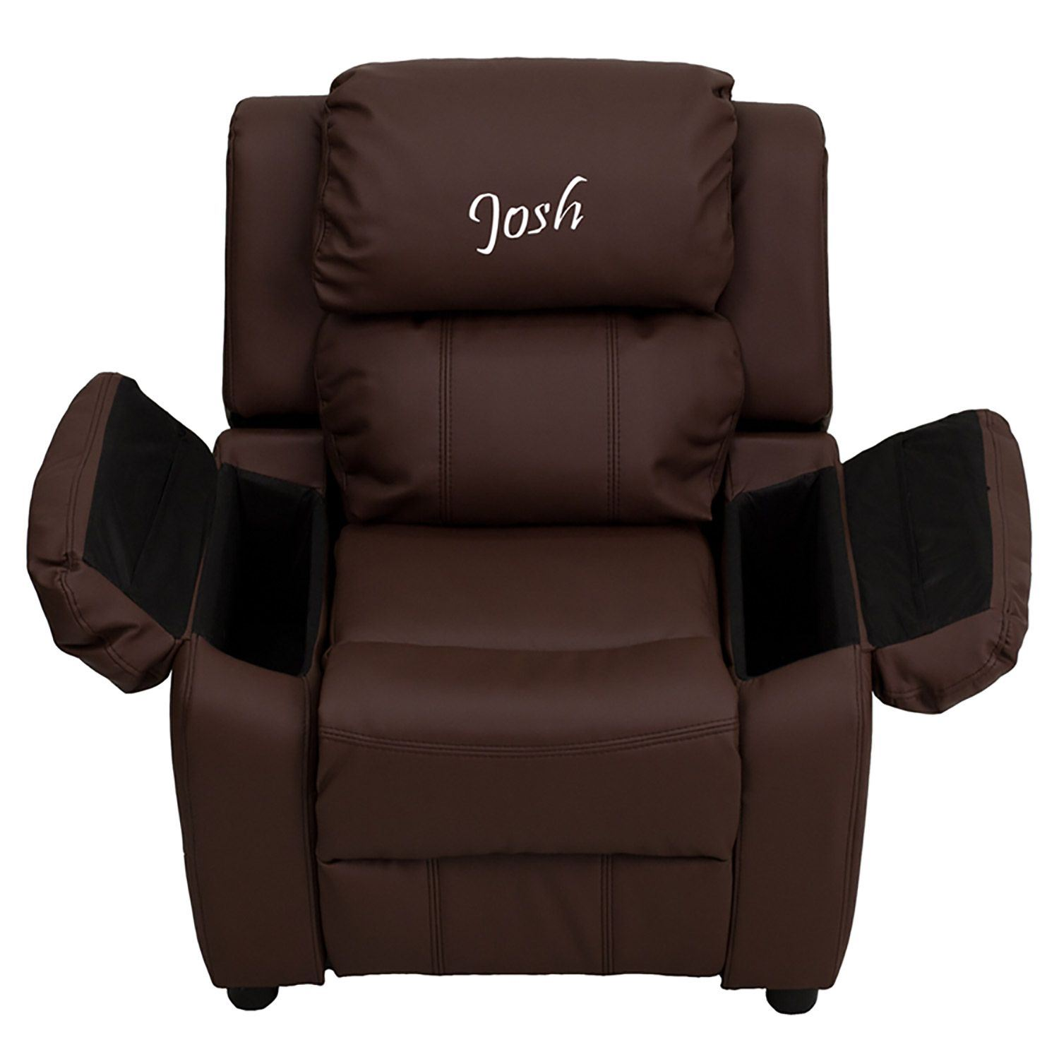 Personalized Deluxe Brown Leather Kids Recliner D Bt