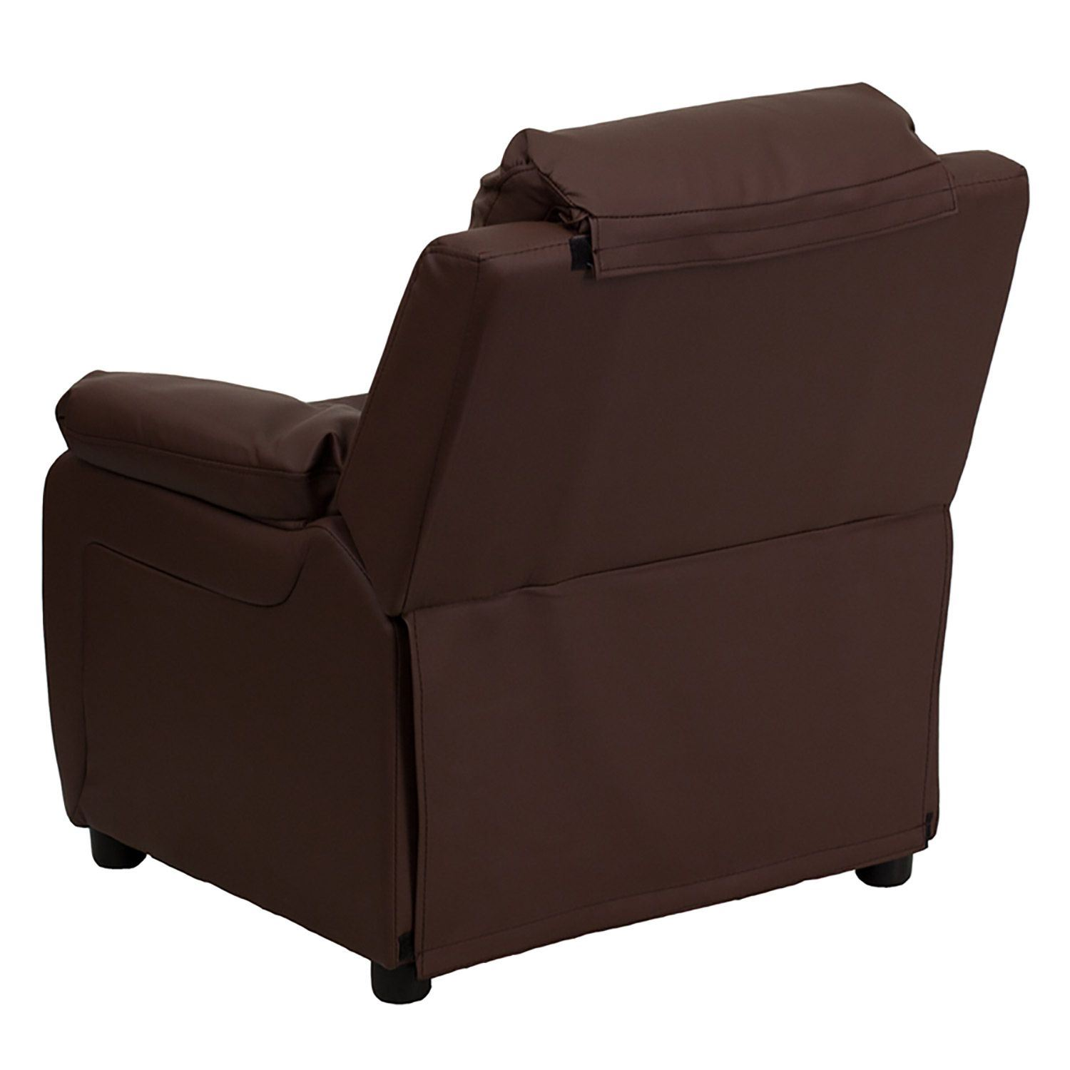 Personalized deluxe brown leather kids recliner d bt for Kids recliner chair