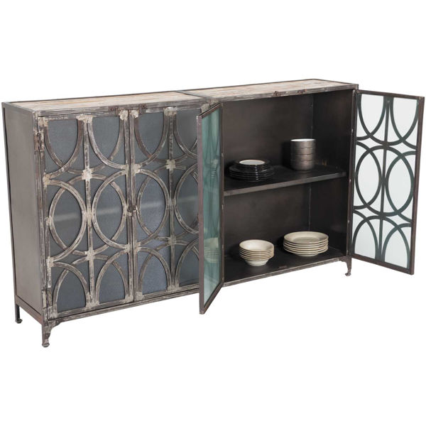 Iron Four-Door Sideboard with Glass Doors - Vintage Iron And Wood Storage Cabinet With Glass Doors At AFW AFW