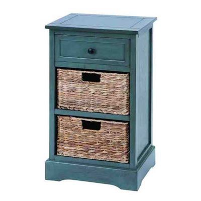 Picture of Blue Wood Wicker Cabinet