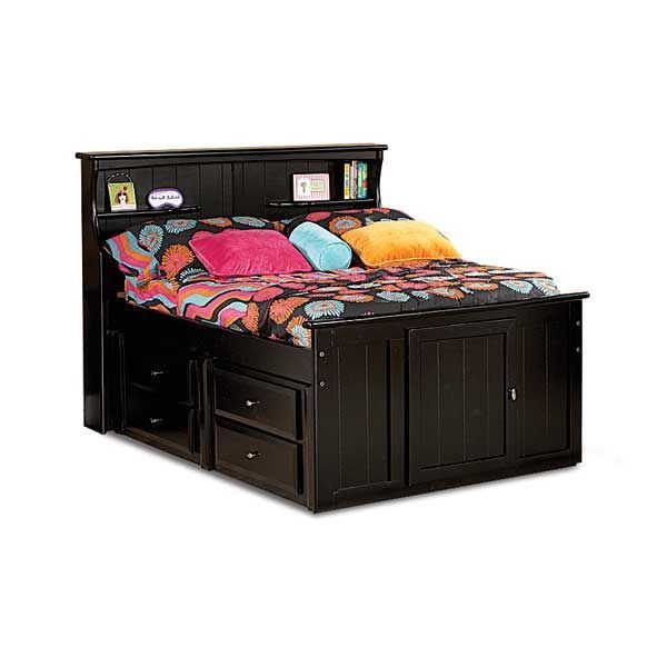 laguna twin bookcase bed with underbed storage bc tcapt 2