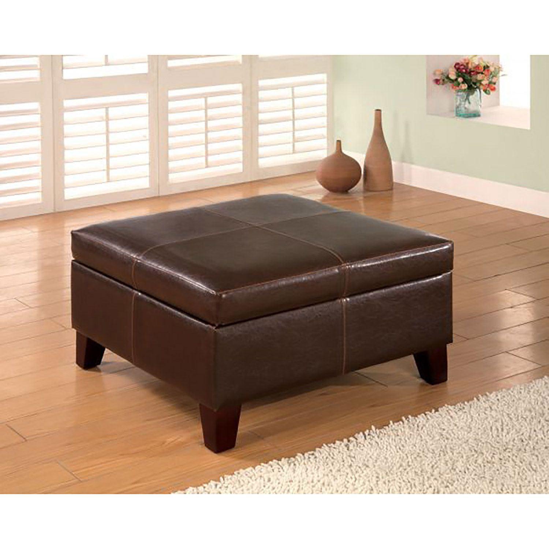 Brown storage ottoman 501042 coaster company american for Coaster furniture of america