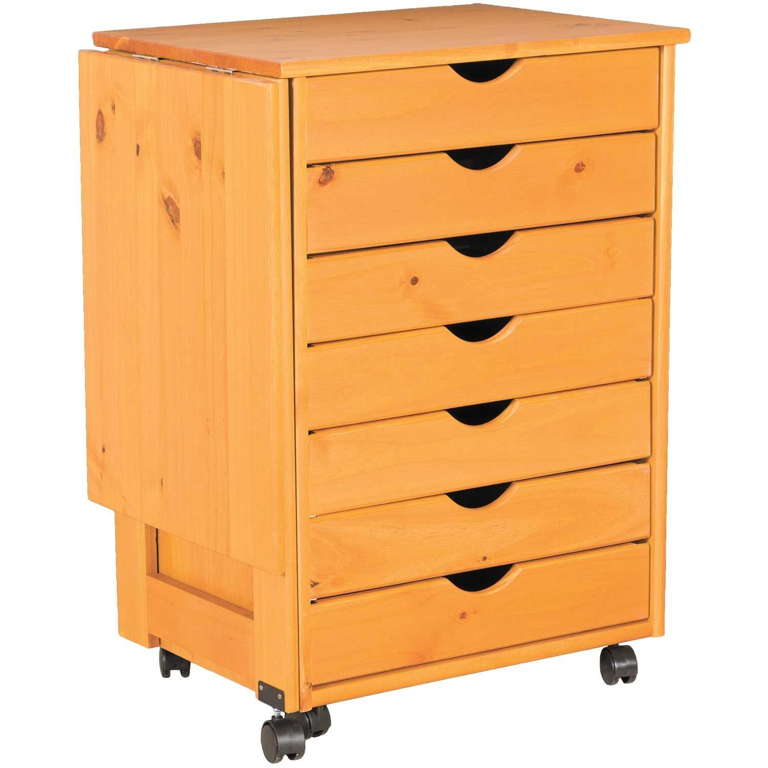 Drop leaf 7 drawer roll cart 76178 home or office for Rolling craft table with storage