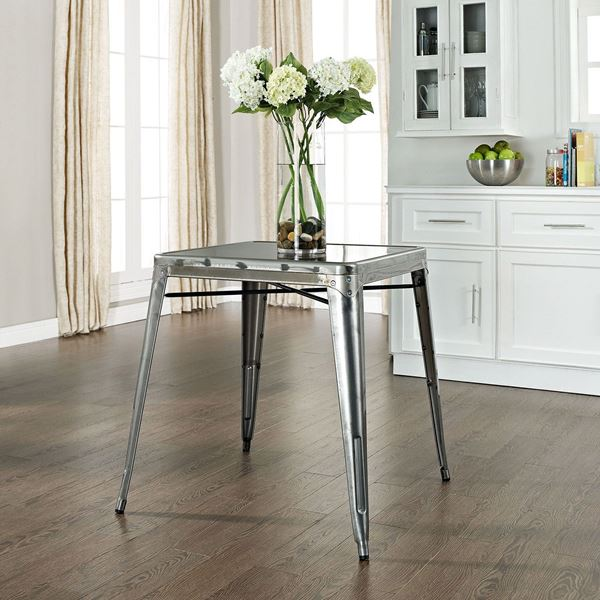 Superieur Amelia Metal Cafe Table, Galvanized *D
