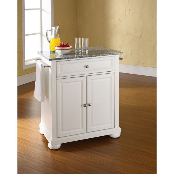 Alexandria Granite Top Kitchen Cart, White *D