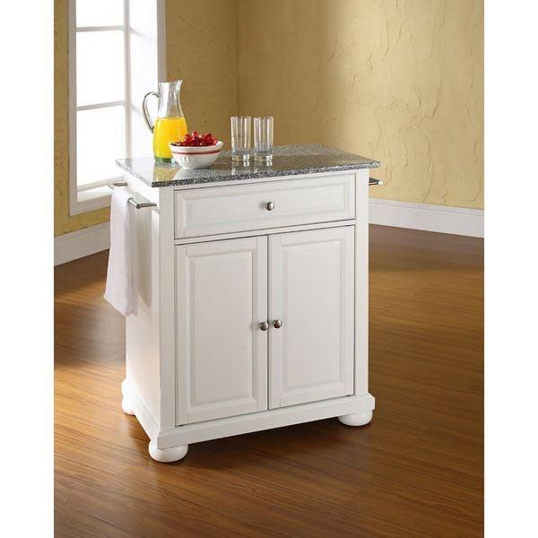 Alexandria Granite Top Kitchen Cart, White *D