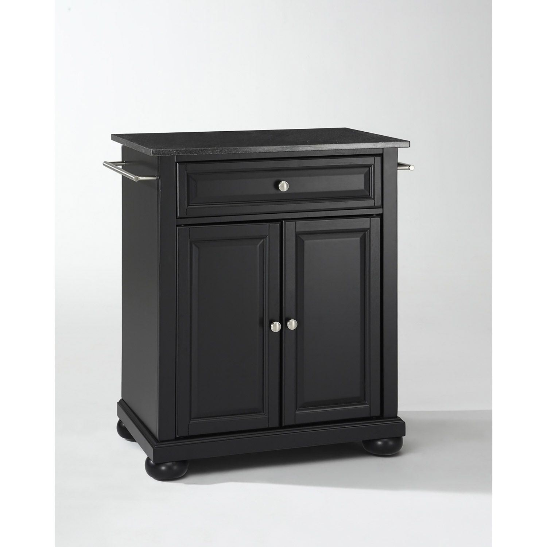 Alexandria Black Granite Top Kitchen Cart Black