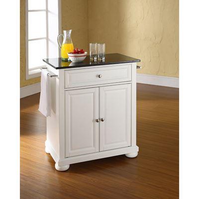 Imagen de Alexandria Black Granite Top Kitchen Cart, White *