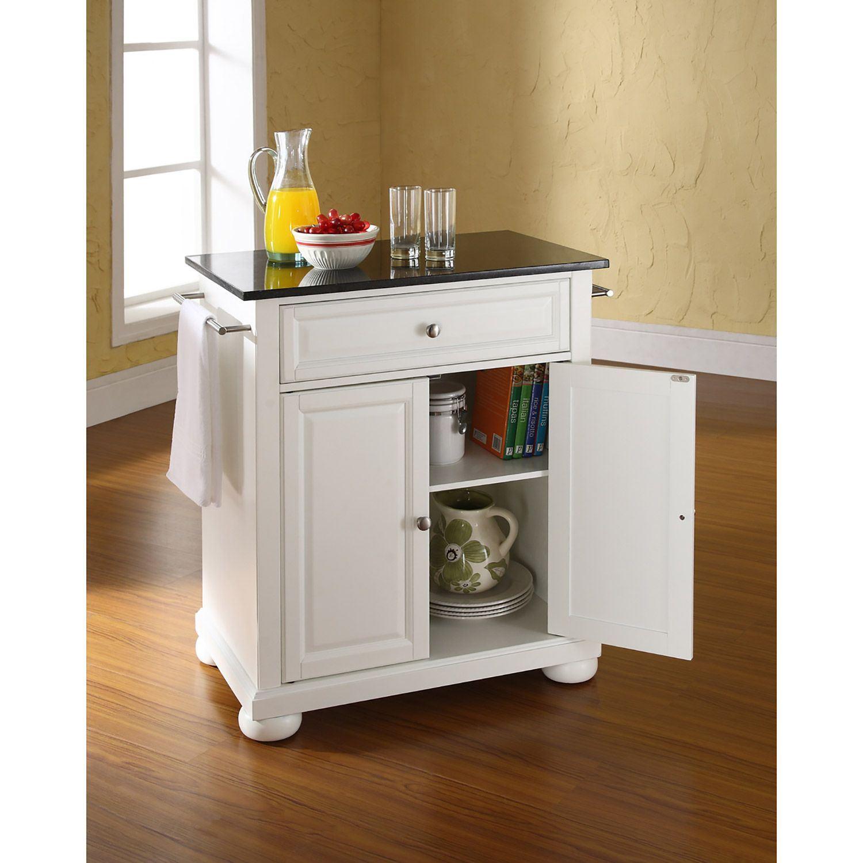 Picture Of Alexandria Black Granite Top Kitchen Cart White