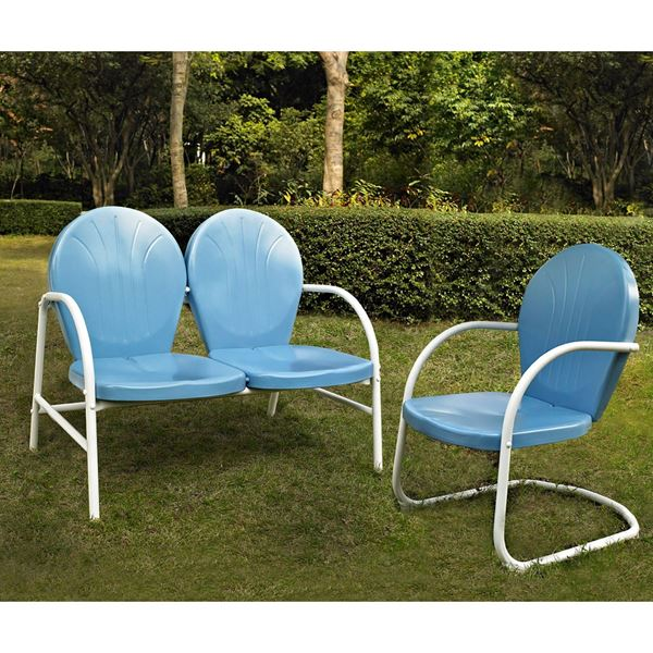 Picture of Griffith 2-Piece Metal Outdoor Set, Blue *D