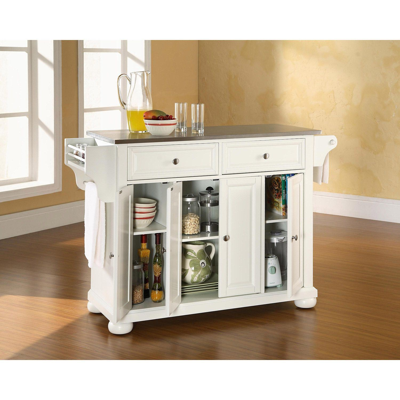Alexandria Steel Top Kitchen Cart White D Kf30002awh