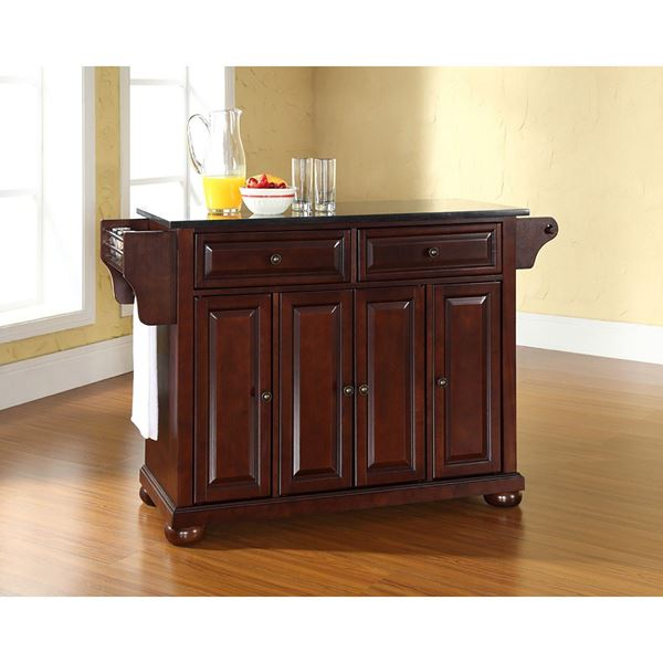 Merveilleux Alexandria Black Granite Top Kitchen Cart, MG *D
