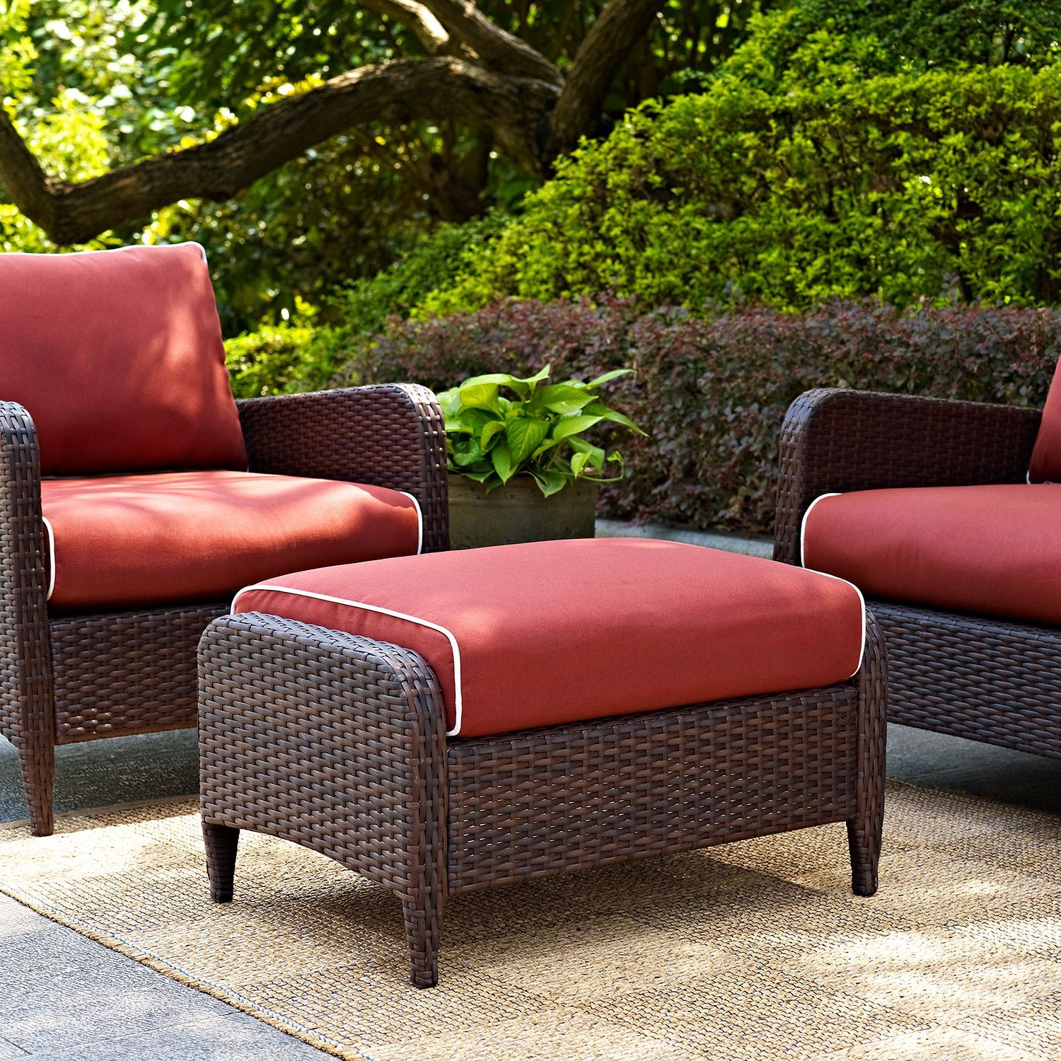 Kiawah Outdoor Wicker Ottoman Brown D Co7119 Br