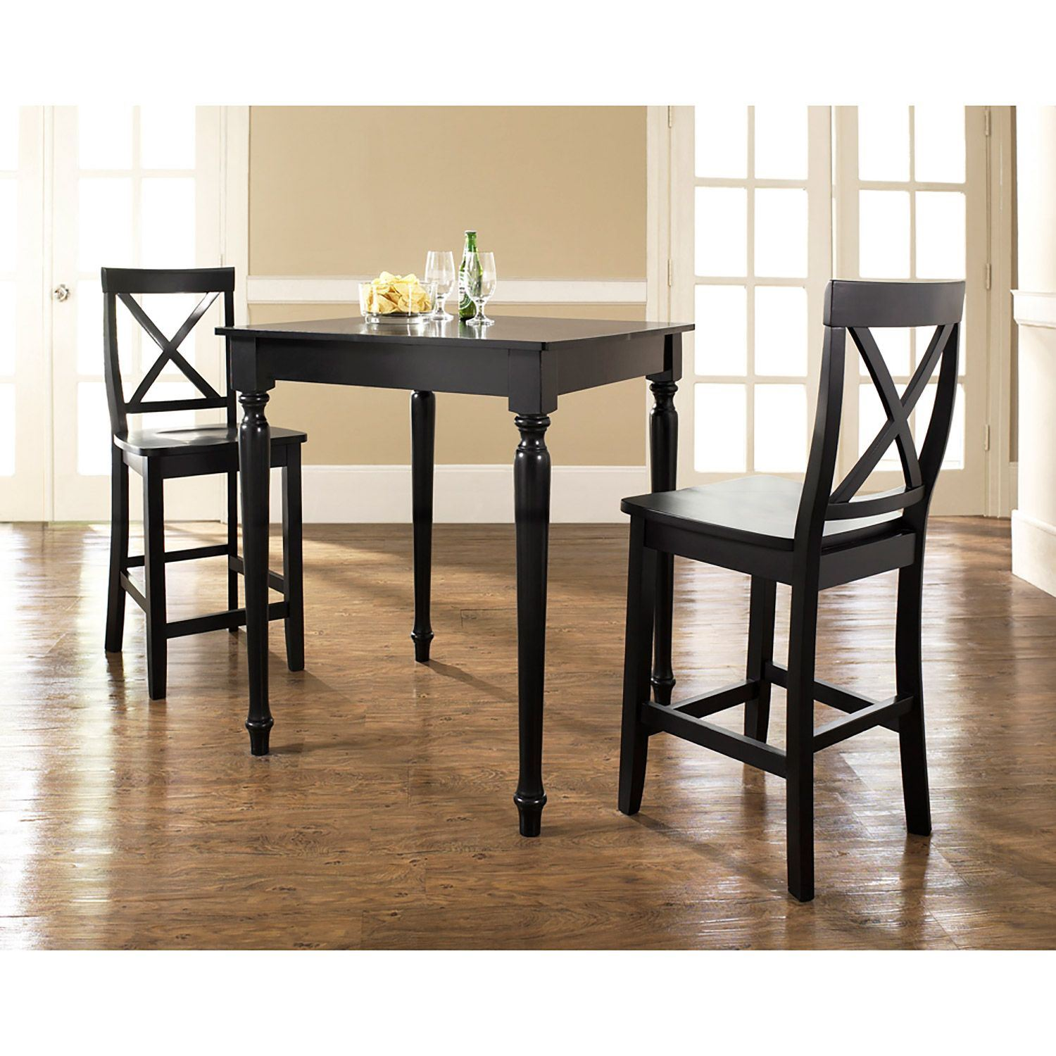 3 Piece Pub Dining Set Black D Kd320009bk Crosley