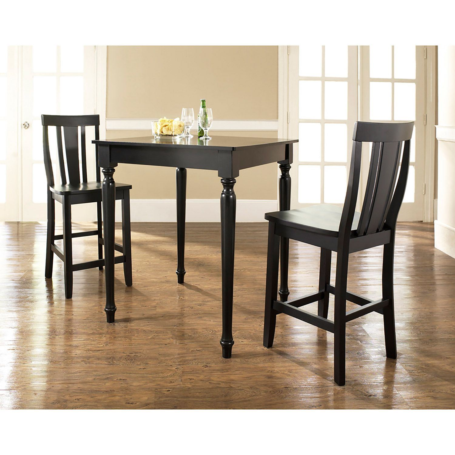 3-Piece Pub Dining Set, Black *D
