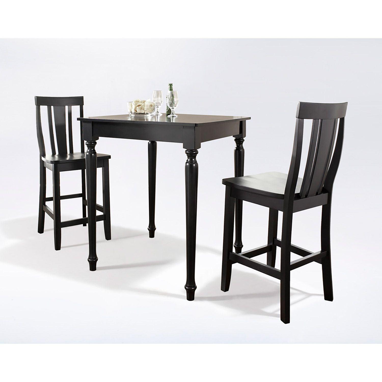 3 piece pub dining set black d kd320010bk crosley furniture afw. Black Bedroom Furniture Sets. Home Design Ideas