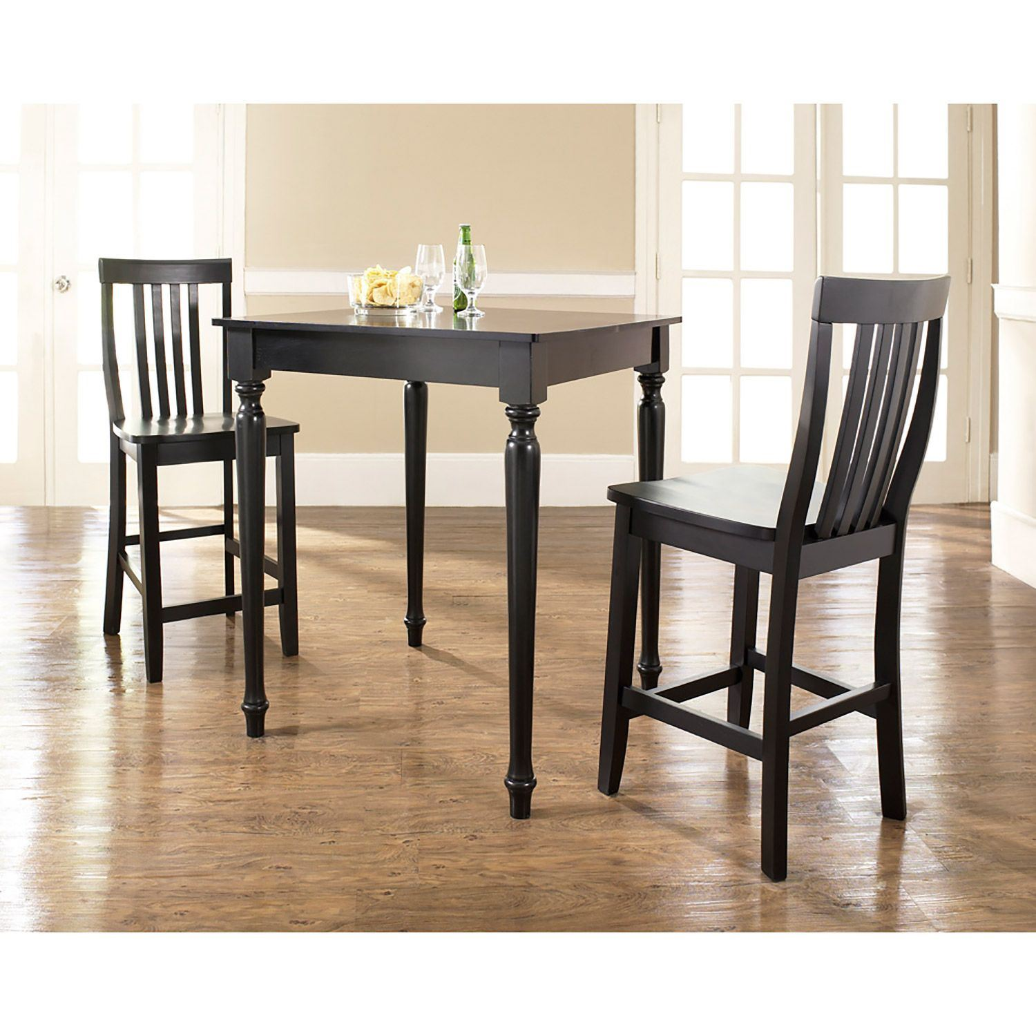 3 Piece Pub Dining Set Black D Kd320011bk Crosley