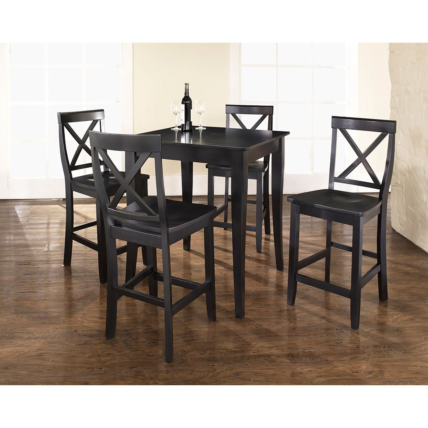 5 Piece Pub Dining Set Black D Kd520001bk Crosley