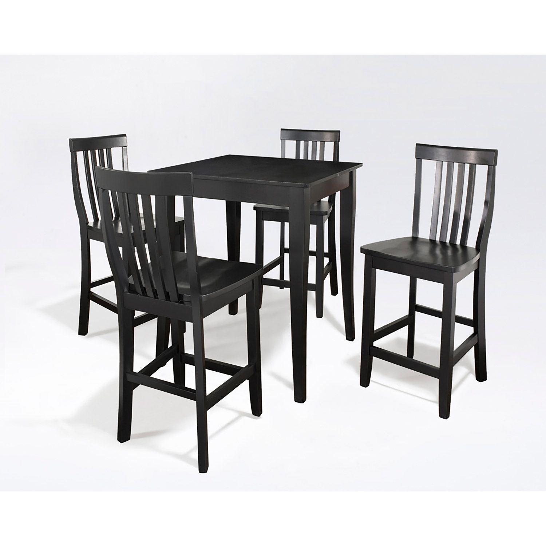 5 Piece Pub Dining Set Black D Kd520003bk Crosley