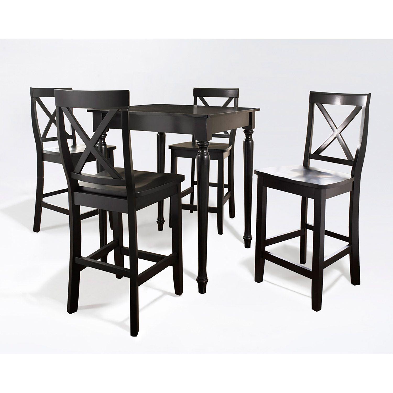 5 Piece Pub Dining Set Black D Kd520009bk Crosley