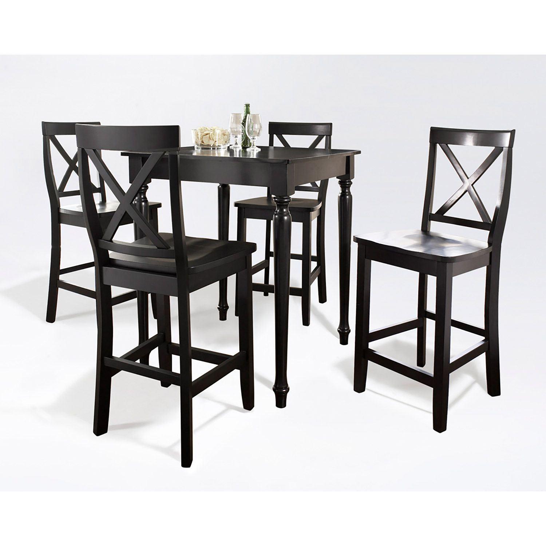 Dining Sets Black: 5-Piece Pub Dining Set, Black *D