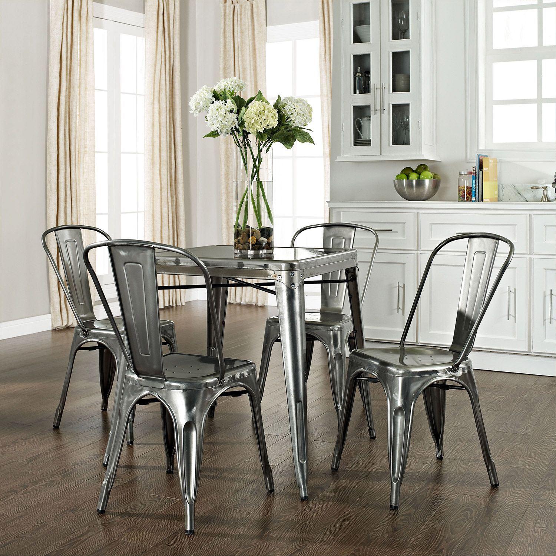Picture Of Amelia 5 Piece Metal Cafe Dining Set, Galvanized *