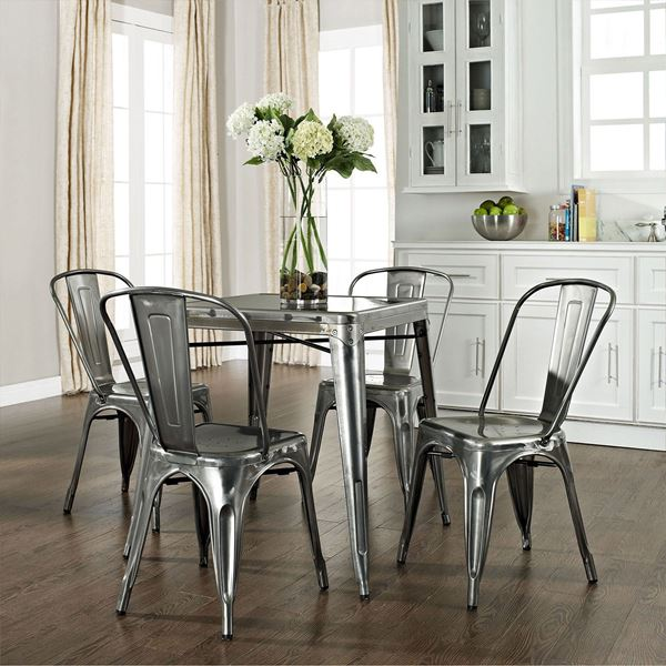 Delicieux Picture Of Amelia 5 Piece Metal Cafe Dining Set, Galvanized *