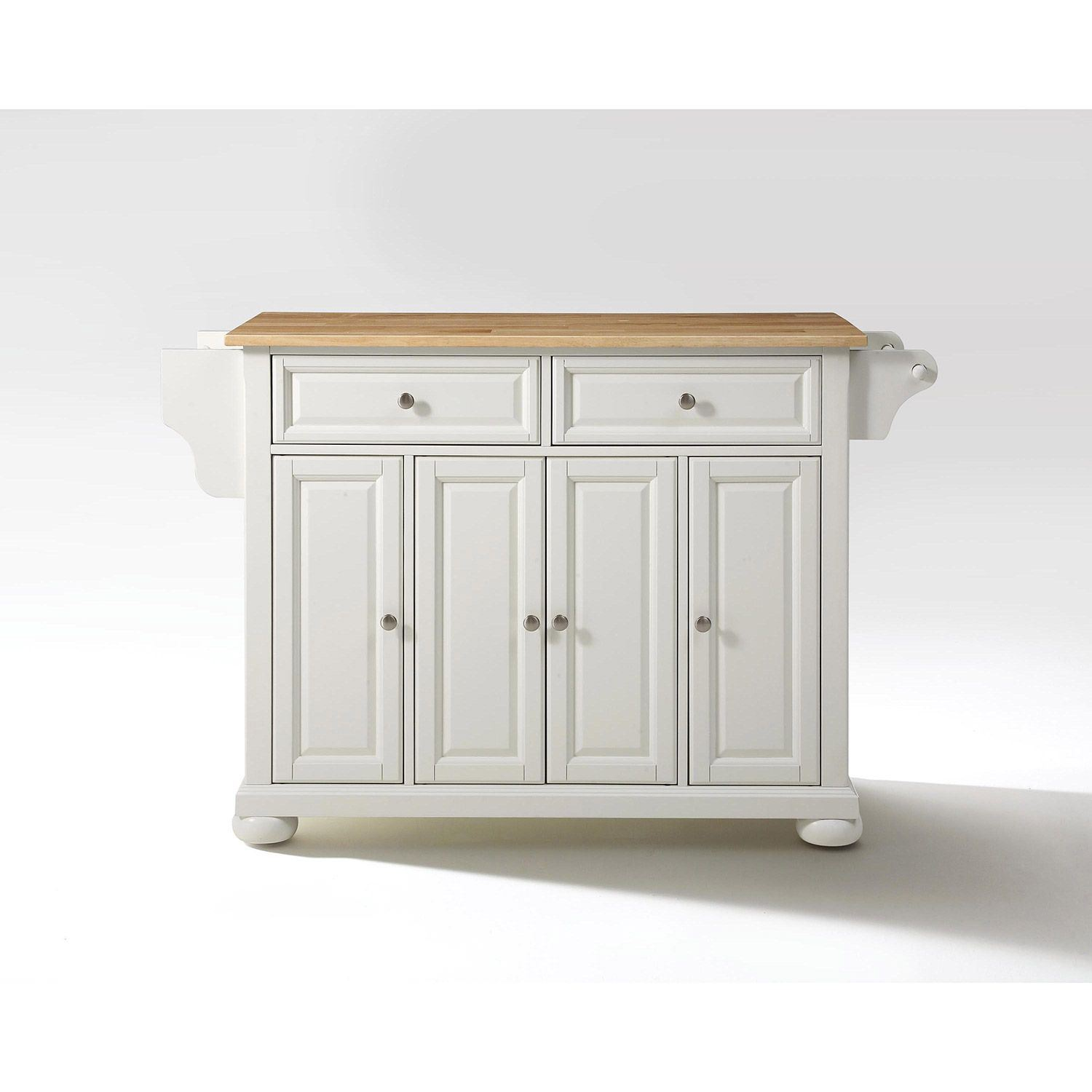 Alexandria Wood Top Kitchen Cart White D Kf30001awh