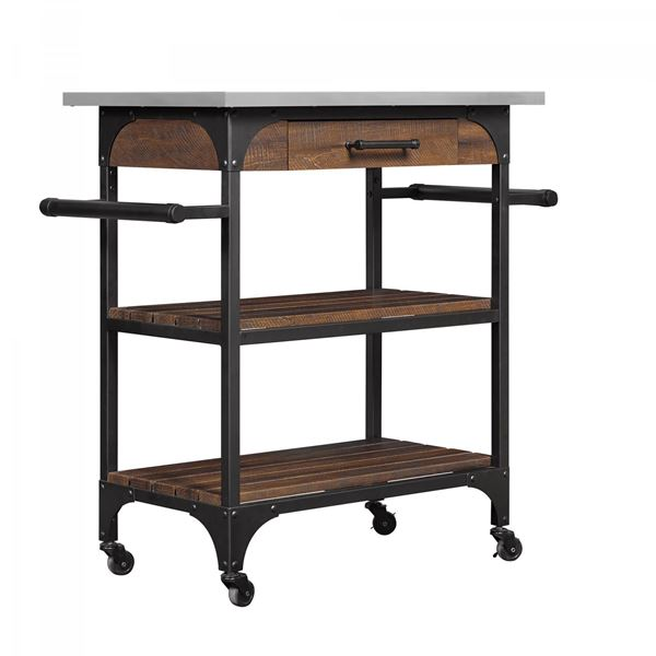 Caraway Kitchen Cart With Stainless Steel Top *D
