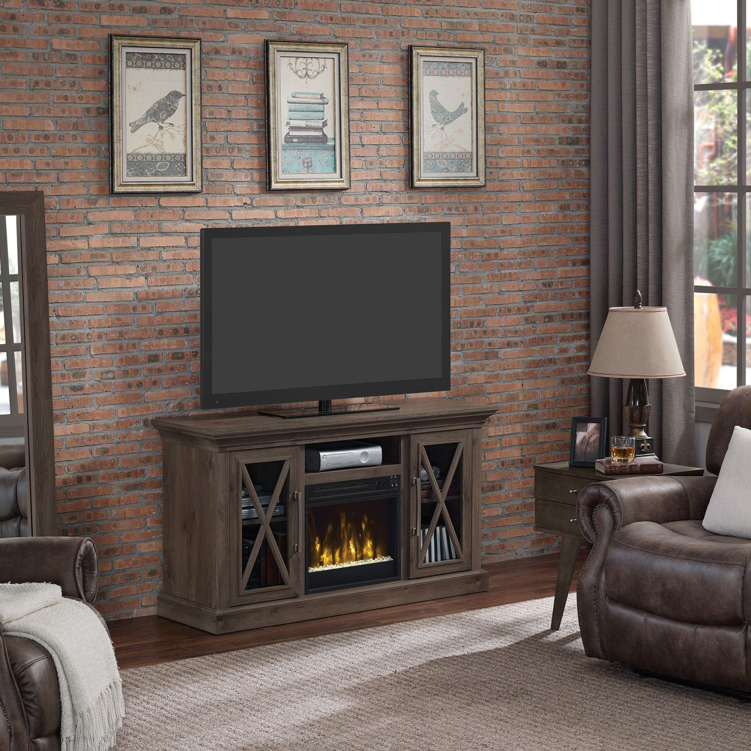 cottage grove 55 tv stand with fireplace d 18mm6075 pi14s classic flame twin star afw. Black Bedroom Furniture Sets. Home Design Ideas