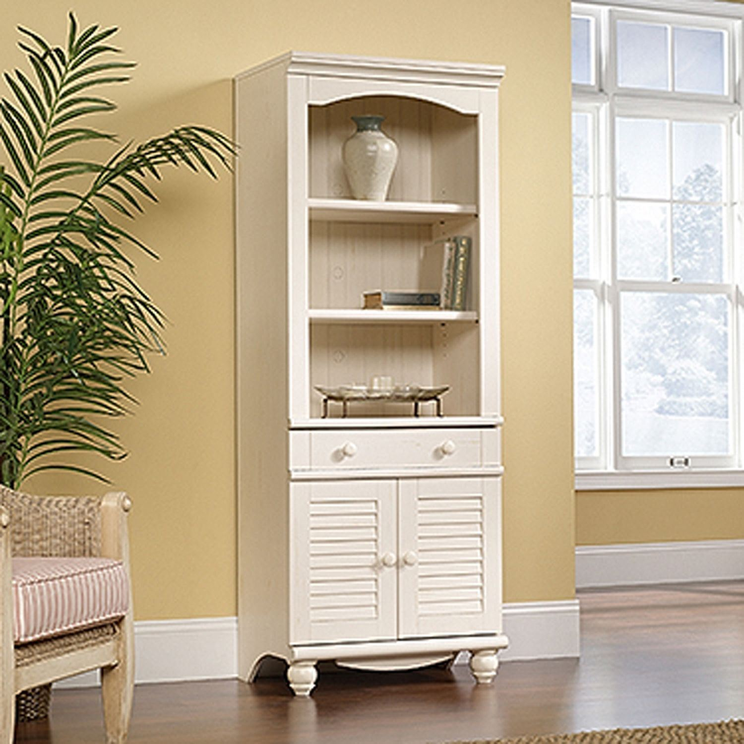 Picture of Harbor View Library With Doors Antiqued White * D - Harbor View Library With Doors Antiqued White * D 158082 Sauder