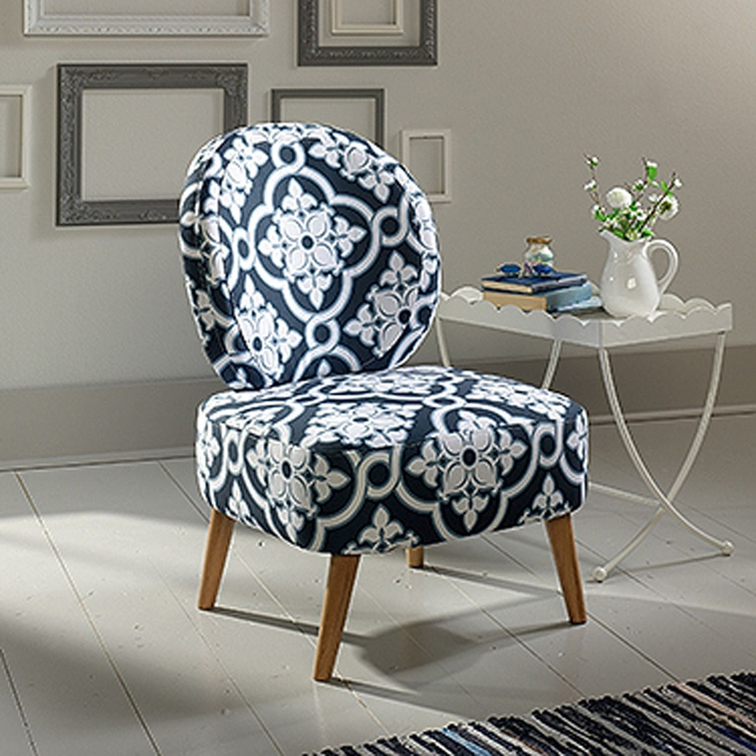 Stupendous Eden Rue Maya Accent Chair Indigo Arabesque D Gmtry Best Dining Table And Chair Ideas Images Gmtryco