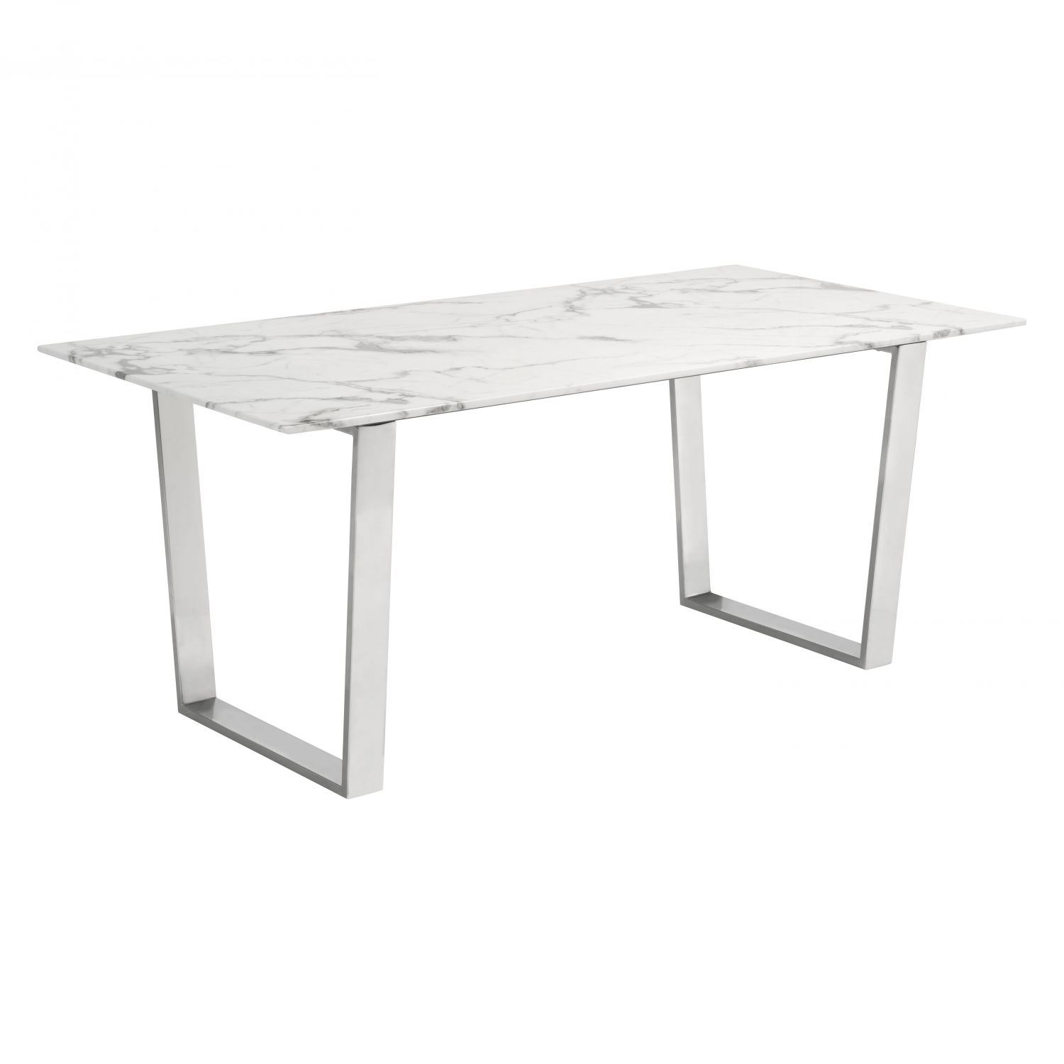 Atlas dining table stone brushed steel box 2 2 100707 for Stone dining table