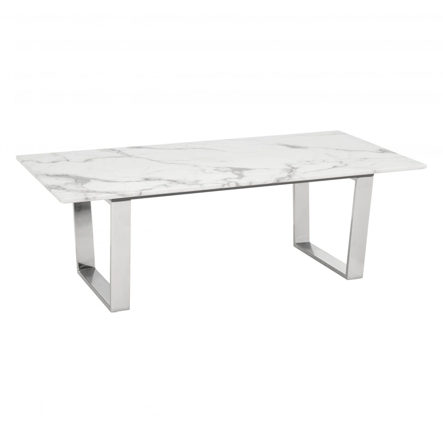 Atlas Coffee Table Stone Brushed Stainless Steel 100708 Zuo Modern Contemporary Afw