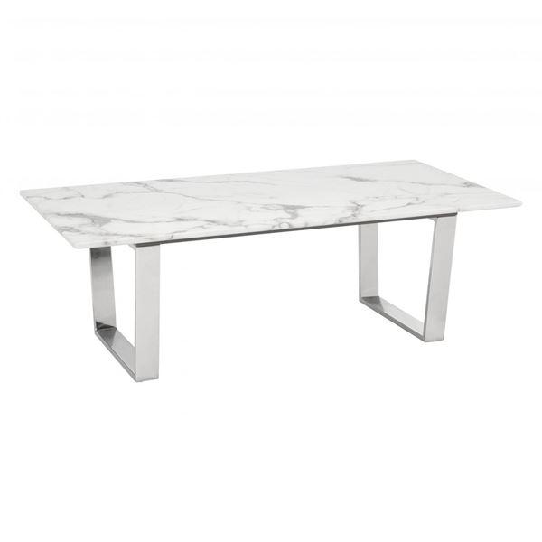Atlas Coffee Table Stone U0026 Brushed Stainless Steel
