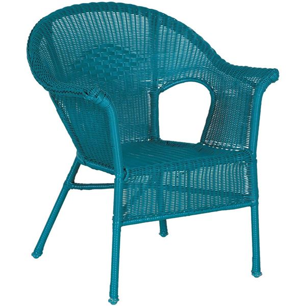 Picture Of Resin Wicker Arm Chair In Teal