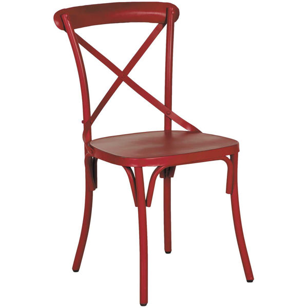 Iron X Back Side Chair, Red