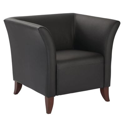 Black Faux Leather Club Chair D