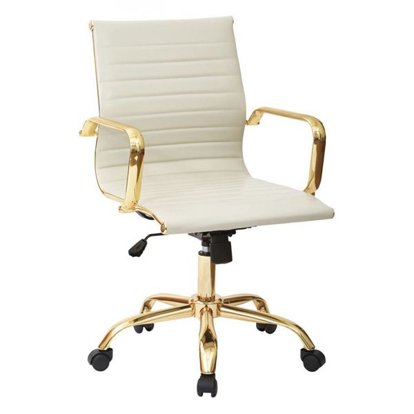 thick padded cream faux leather office chair fl3836g u28 office