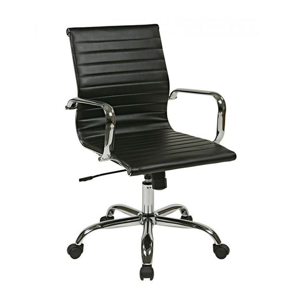 thick padded black faux leather office chair fl3836c u6 office