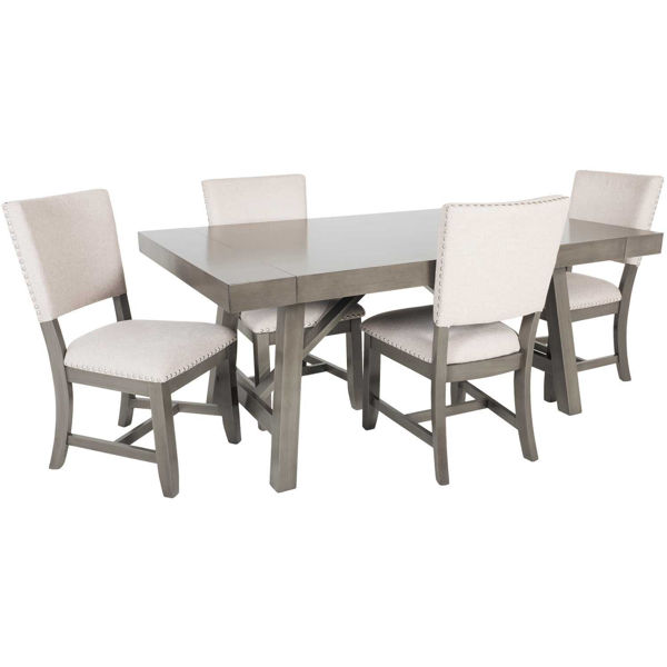 omaha grey trestle 5 piece dining set | 16681-5pc | standard