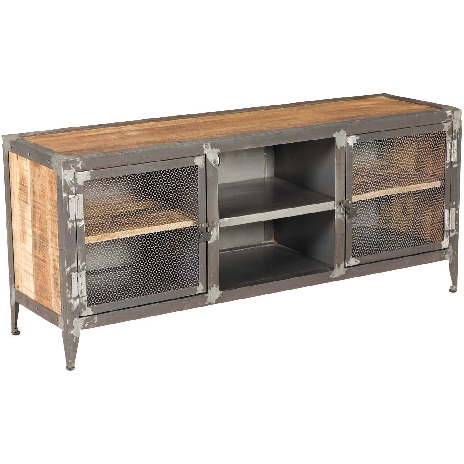 vintage industrial iron and wood tv stand sie a9141 afw. Black Bedroom Furniture Sets. Home Design Ideas