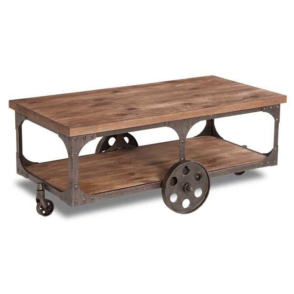 Rustic cocktail table on wheels t500 721 ashley for Rustic coffee table with casters