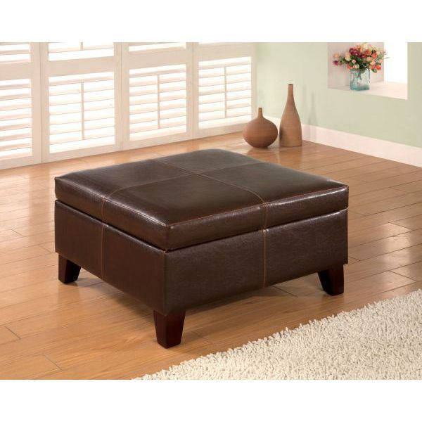 Brown storage ottoman 501042 coaster company afw for Coaster furniture of america