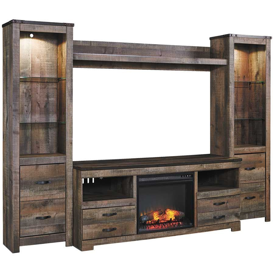 Trinell Entertainment Wall With Fireplace Console W446
