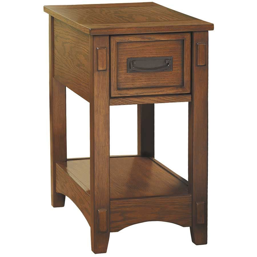American Signature Furniture Commercial Gagging: Breegin Oak Chairside End Table Z-T007-319