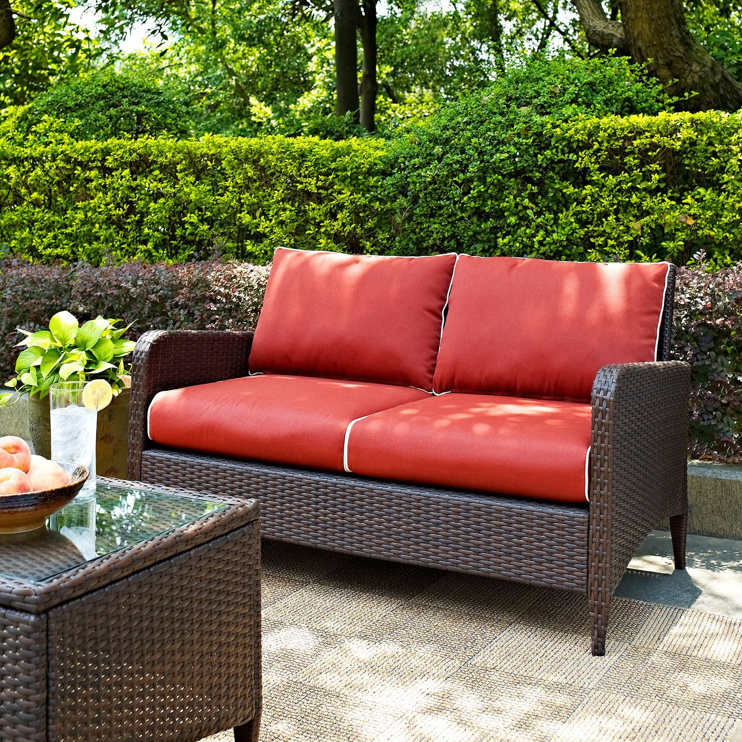 Patio Furniture Loveseat Cushions: Kiawah Outdoor Wicker Loveseat, Brown *D